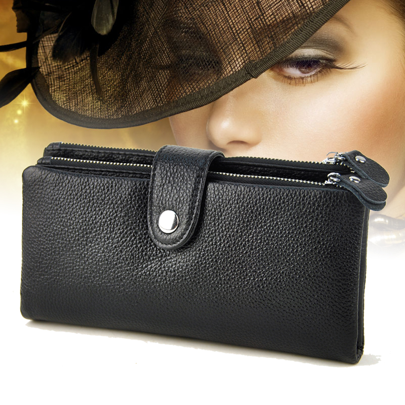 New Brand Design Fashion Genuine Leather Wallet Women Purse Female Clutch Wallets Ladies Cowhide  Long Cellphone Bag simline fashion genuine leather real cowhide women lady short slim wallet wallets purse card holder zipper coin pocket ladies