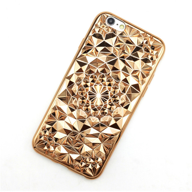 Luxury iPhone 7 Cases Cover 3D Diamond Grid Flower Electroplate Rhinestone Capa Soft TPU For 7Plus 6 6G 6S 6Plus 5.5