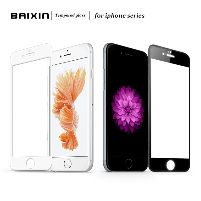 bd1ce9132fc Baixin Full Cover Tempered Glass Screen Protector for iPhone 5 5s SE 6 6s 7  Glass