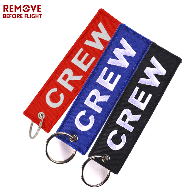 3PCS Mix Color Crew Key Chain OEM Embroidery Motorcycle Car Key Ring Holder Luggage Tag Aviation Gift Keychains chaveiro llavero