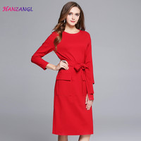 HANZANGL Autumn Winter New Women Europe And America Fashion Lacing Waist Slim Split Ends Red Dress
