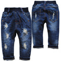 3945 отверстие джинсы детские джинсы мальчики девочки брюки повседневные брюки весна осень детей брюки темно-синий мода детская одежда