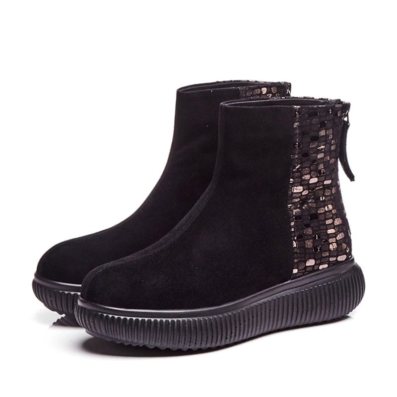 34 Plate Boot Grande Femmes Med Chaud forme Wetkiss Zip Talons Hiver Kid black 42 Bottes Suede Noir Chaussures D'impression Bout Rond Taille AqwaUI0