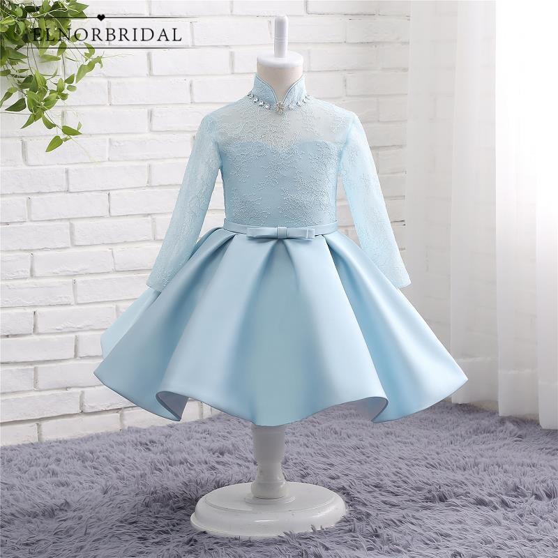 Latest Long Sleeves   Flower     Girl     Dresses   For Weddings 2019 Lace Vestido De Daminha Children First Communion   Dress