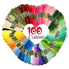100pcs Looen Random Colors Cross Stitch Floss Rainbow Color Embroidery Threads Sewing For Women DIY Tools