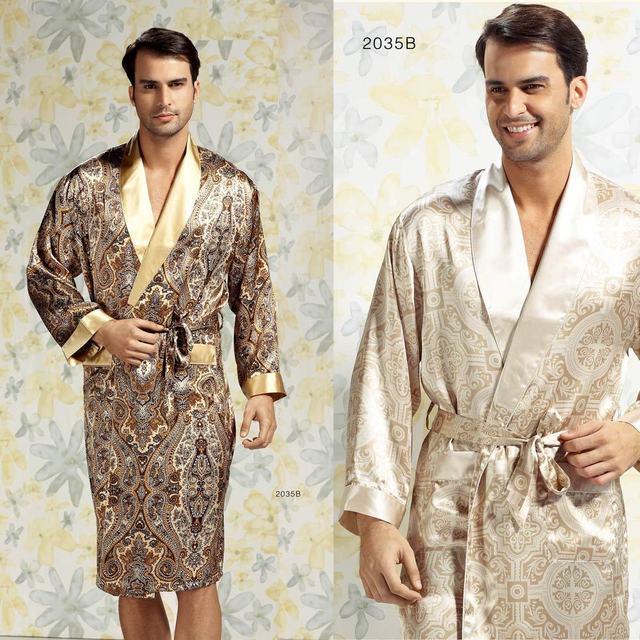Ropa de dormir de seda masculina calidad seda de mora salón bata 2035b