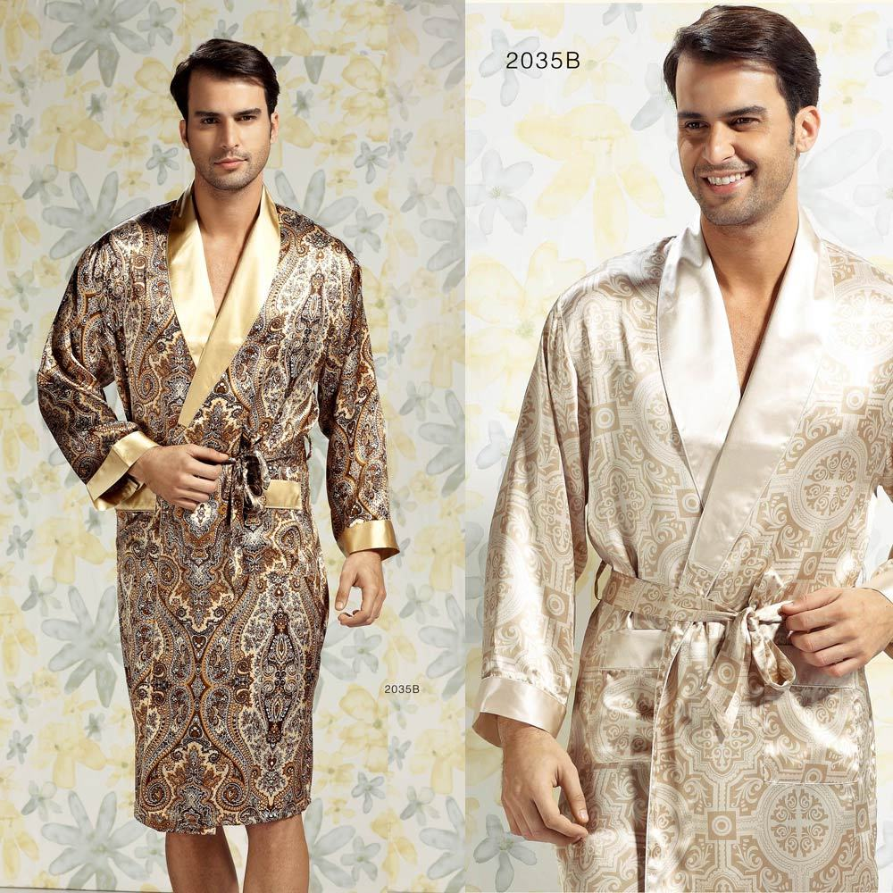 Silk sleepwear male quality mulberry silk robe lounge 2035b