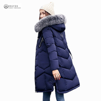 2017 New Hot Sell Women Long Winter Jacket Warm Cotton Coat Pure Color Hooded Fur Collar