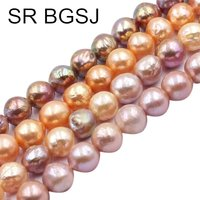 Free Shipping 9 11mm High Quality Edison Nearly Round Natural Freshwater Pearl Spacer Beads Strand 14
