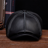 HL058 MEN'S genuine leather baseball cap hat brand new real leather beret caps hats
