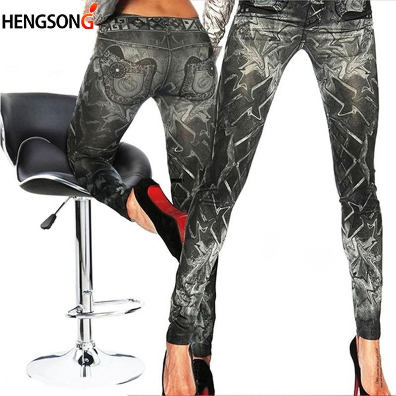 New Slim False Imitation Jeans Fitness Leggins Women Denim Leggings Nine Pants Tattoo Painted Leggings Black One Size
