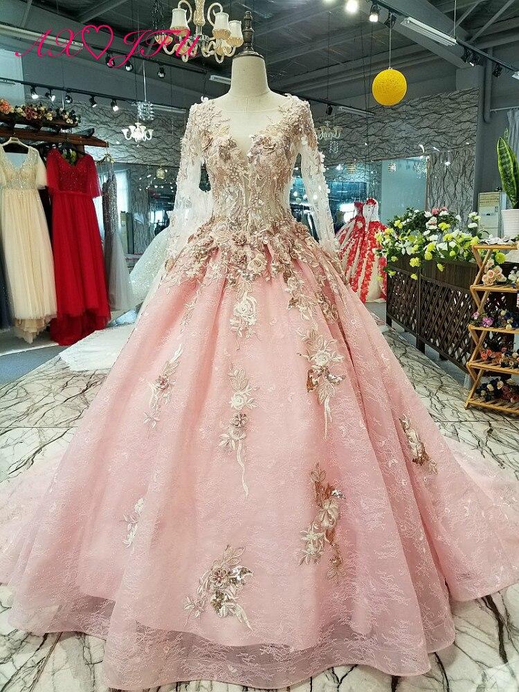 AXJFU princesse rose fleur dentelle à manches longues robe de mariée de luxe rose perles perles illusion robe de mariée 100% photo réelle 32110