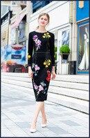 Высокое качество вышивки черный футляр 2018 осень взлетно посадочной полосы Длинные рукава бриллиантами Элегантное платье Мода ПР платье D403