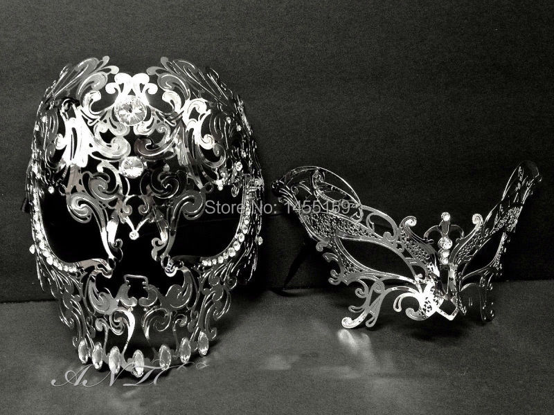 Men Women Couple Silver Metal Evil Skull Venetian Laser Cut Masquerade Masks Set Mardi Gras Costume Prom Party Eye Wedding Mask la palmyre zoo