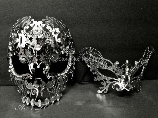 3bc31ad5d388 Silver Metal Skull Venetian Butterfly Masquerade Couple Masks Set The Beast  and Beauty Prom Full Face