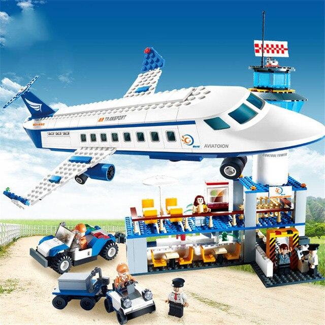 Городской международный аэропорт, 652 шт., авиационные строительные блоки, наборы кирпичей, модель, детские игрушки, совместимые с Lego