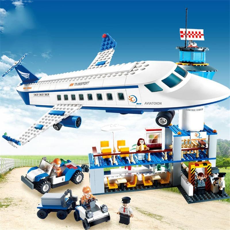 Aeroporto internacional da cidade 652 pçs aviões de aviação blocos de construção conjuntos tijolos modelo crianças brinquedos criador compatível legoings