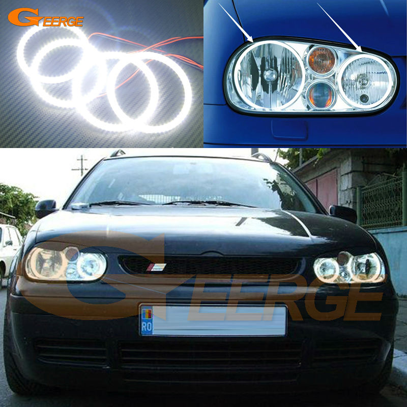 For Volkswagen VW Golf MK4 R32 GTi VR6 CABRIO A4 1998-2004 Excellent Ultra bright illumination smd led Angel Eyes Halo Ring kit for vw volkswagen golf gti 1998 2004 rgb led headlight halo angel eyes kit with wireless remote control