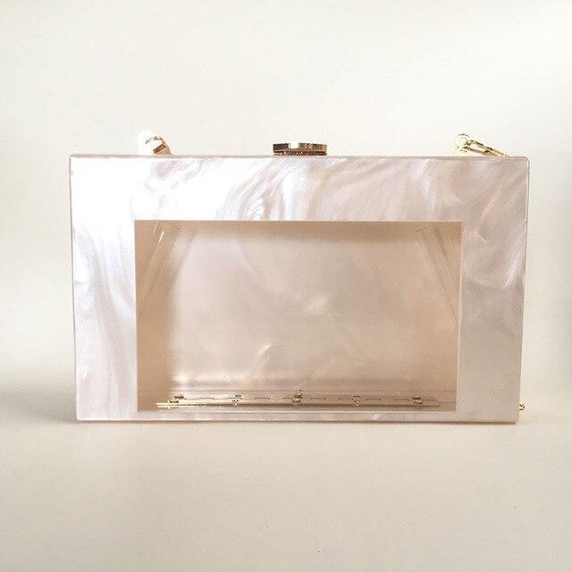 2017 Women Casual Acrylic Clutch Unique Solid Messenger Bag Transparent One  Side Lady Evening bag Wedding 2842ab1b3ec8