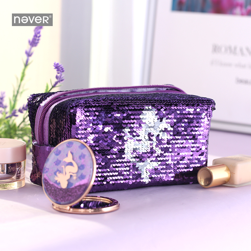 Never Mermaid Sequin Bag Large Pencil Pouch Pencil Case Kawaii Makeup Cosmetic Bag Girls Gift Stationery Office School Supplies