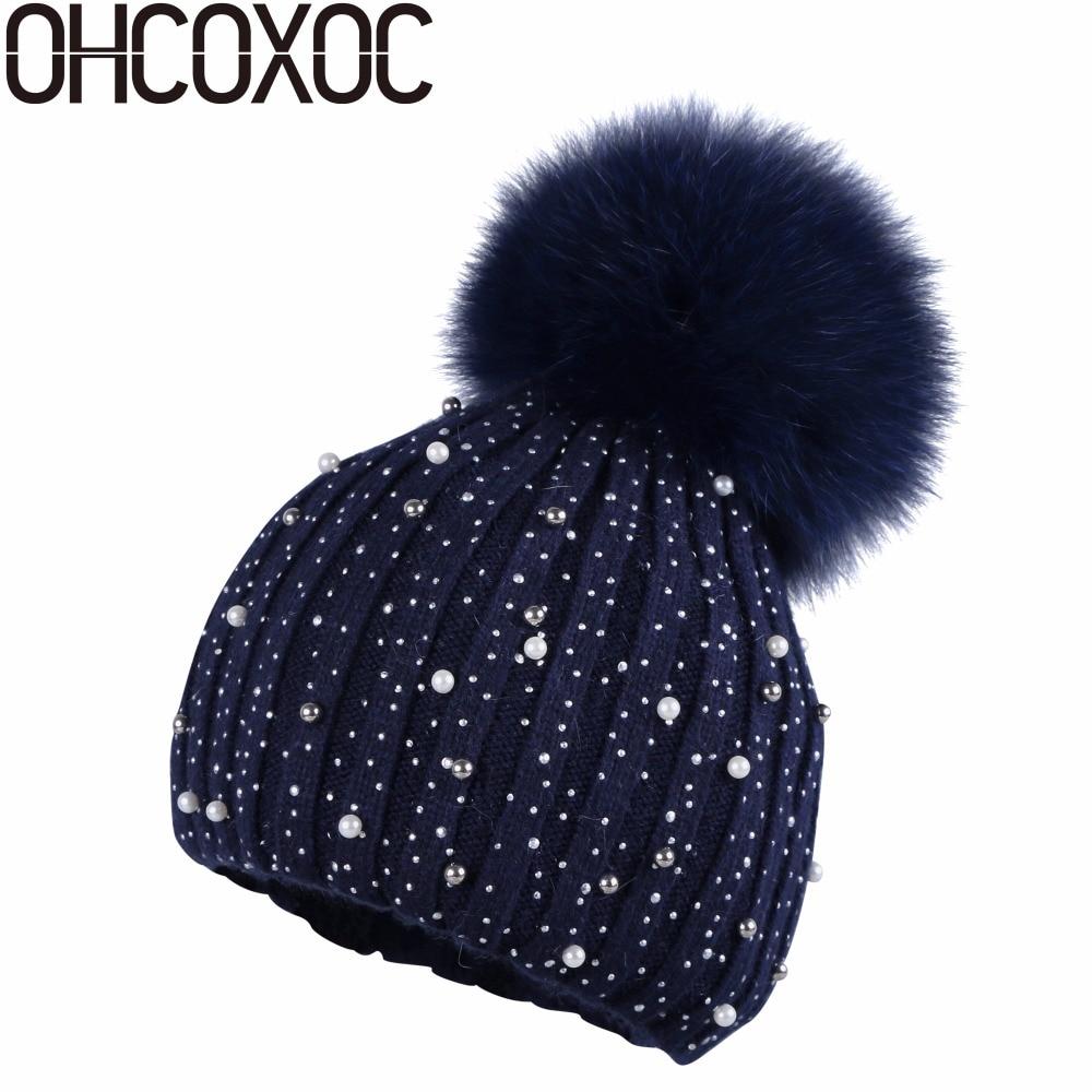OHCOXOC New Women Thin   Beanies   Real Fox Fur Pom Poms Ball Cap luxury   Beanies     Skullies   Solid Cashmere Winter autumn thin Hat