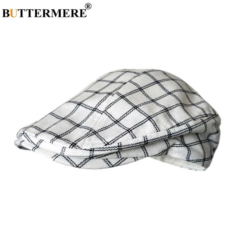 905817beb BUTTERMERE Classic Flat Cap Men Plaid Cotton Driving Caps Male Light Grey  Vintage Duckbill Ivy Hats Summer British Hats And Caps