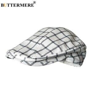 Image 3 - Buttermere 古典的なフラットキャップ男性チェック柄駆動キャップ男性ライトグレーヴィンテージカモノハシアイビー帽子夏英国帽子とキャップ