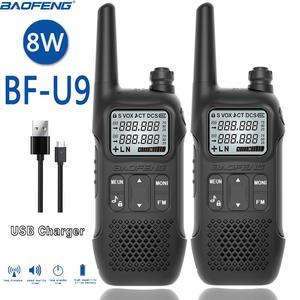 Image 1 - 2PCS BAOFENG BF U9 8W מיני ווקי טוקי USB תשלום מהיר UHF 400 470MHz FM נייד רדיו