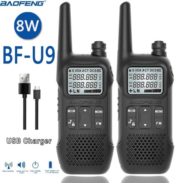2PCS BAOFENG BF U9 8W מיני ווקי טוקי USB תשלום מהיר UHF 400 470MHz FM נייד רדיו