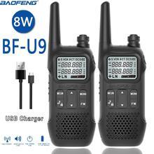 2PCS BAOFENG BF U9 8W mini Walkie Talkie USB Schnelle Ladung UHF 400 470MHz FM Tragbare Radio