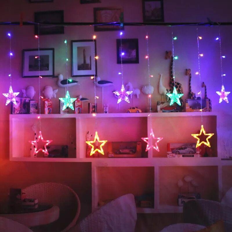 LAIMAIK 2 M luces de Navidad AC220V de la UE o AC110V de hadas romántico estrella cortina LED Cadena de luces para fiesta de boda Garland iluminación