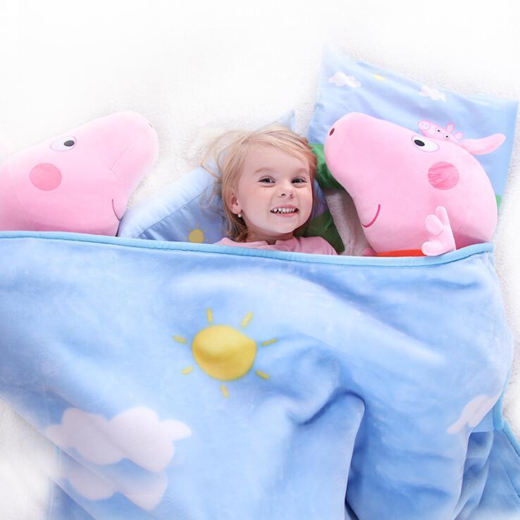 Véritable Peppa Pig 140*110 cm peppa doux coton oreiller + couverture costume 1 ensemble boue série 81 cm peppa en peluche jouet enfants cadeau
