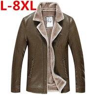 Большие размеры 8XL 7XL зимняя кожаная куртка для мужчин модный бренд коричневый овчины куртки и пальто будущих мам с шерстяной подкладк