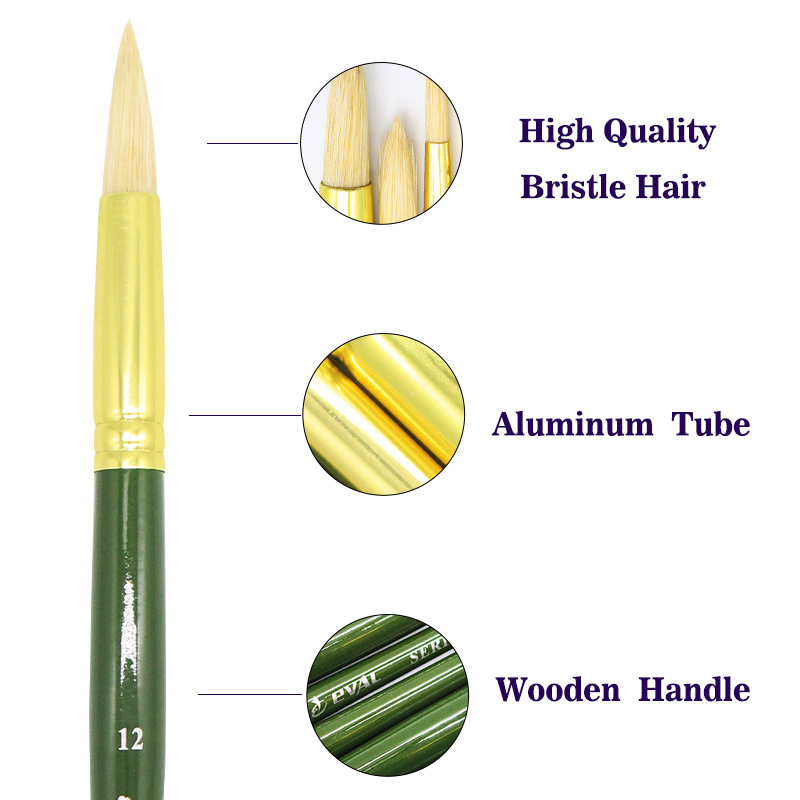 Eval Bristle Hair Artist Brush Quality Green Gold Aluminum Student Art Drawing Supplies Watercolor Oil Painting Round Set 6pcs