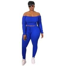 bc1161feaa Las mujeres de ropa de verano de 2019 conjuntos de 2 piezas mujeres Set Top  de mujer de moda hombro Top pantalones largos traje .