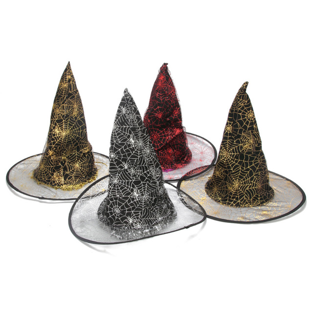 e6e13703f21 Halloween Interesting Witch Cap for Gifts Yarn Cloth Spider Net Printed  with Straight Hair for Halloween Christmas Decoration
