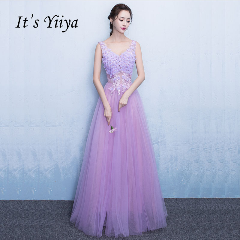 It's Yiiya Purple Sleeveless Illusion Print Lace Up A line Elegant Evening Dresses Floor Length Backless Evening Gowns LX038