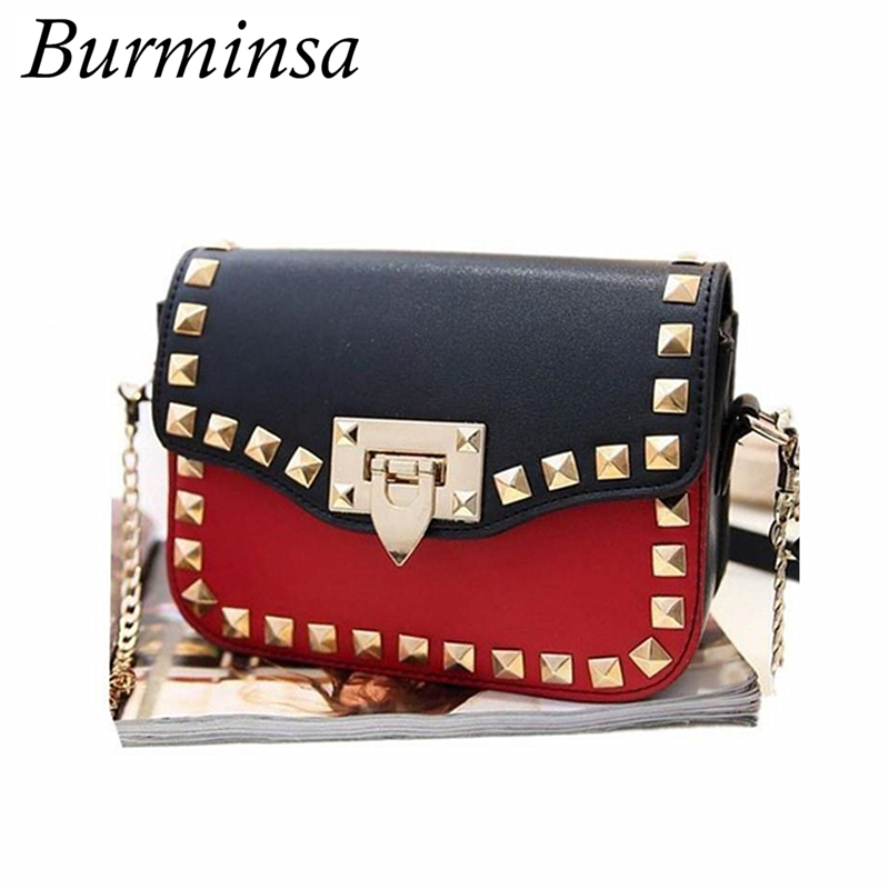Burminsa Brand Small Rivet Flap Shoulder Crossbody Bags Designer Handbags High Quality PU Leather Mini Chain Women Messenger Bag genuine leather women messenger bags rivet small flap shoulder bag crossbody bags designer brand ladies female clutch hand bags
