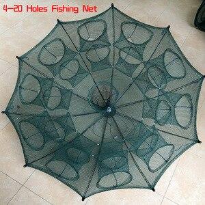 Image 3 - NEWEST 4 20 Holes Automatic Folding Fishing Net Shrimp Cage Nylon Foldable Crab Fish Trap Cast Net Cast Folding Fishing Network