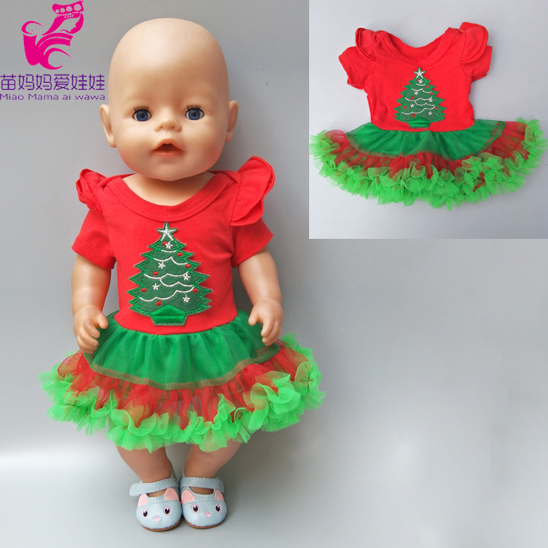 43cm 17 inch doll clothes Baby Born doll dress Christmas Santa Claus dress fit for 18 inch dolls Clothes wear Baby New year gift christmas costume dress for 18 45cm american girl doll santa dress with hat for alexander doll dress