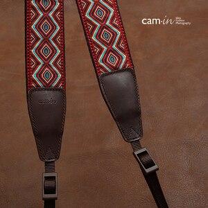 Image 5 - カムイン CAM7416 刺繍ウェビング牛革ユニバーサルカメラレフベルト一般的な調節可能なストラップ