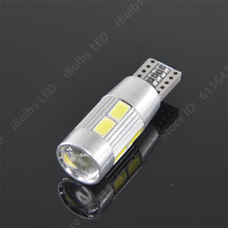 4PCS T10 Canbus Error Free W5W 10 LEDs 194 501 Auto 5630 SMD Car Interior lights Wedge Door Instrument Side Bulb Lamp DC 12V 10pcs super bright led lamp t10 w5w 194 6smd 4014 error free canbus interior bulb white for car dc 12v free shipping new