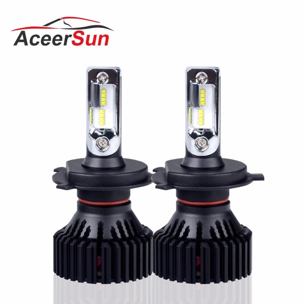 Aceersun LED Phare De Voiture Ampoule H7 H4 72 w 16000LM H11 9005 9006 12 v 9007 Canbus smart ic HB3 HB4 Salut-Lo lumière pas de bruit fonte 24 v
