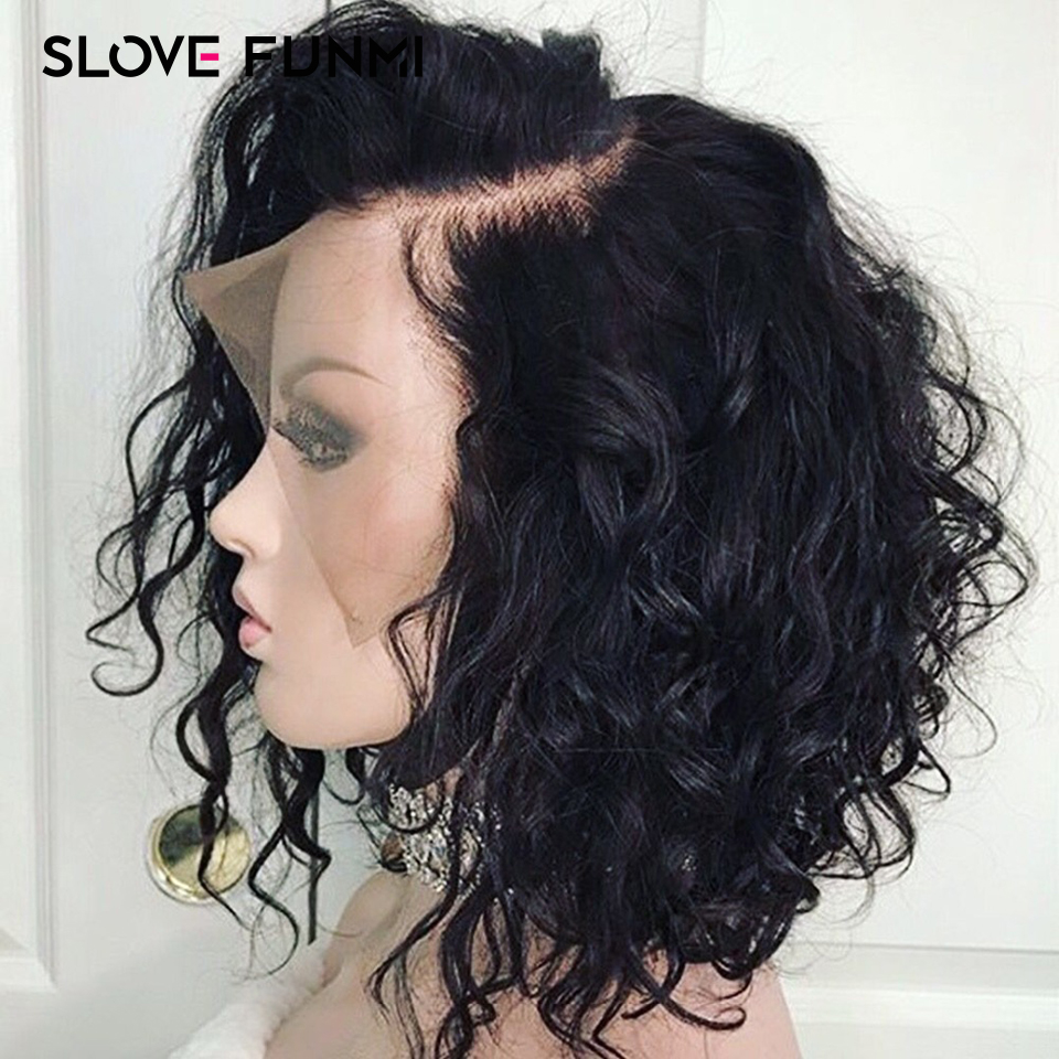 Slove Funmi Short Bob Lace Front Wigs Human Hair Natural Wave Brazilian Remy Natural Black Pre