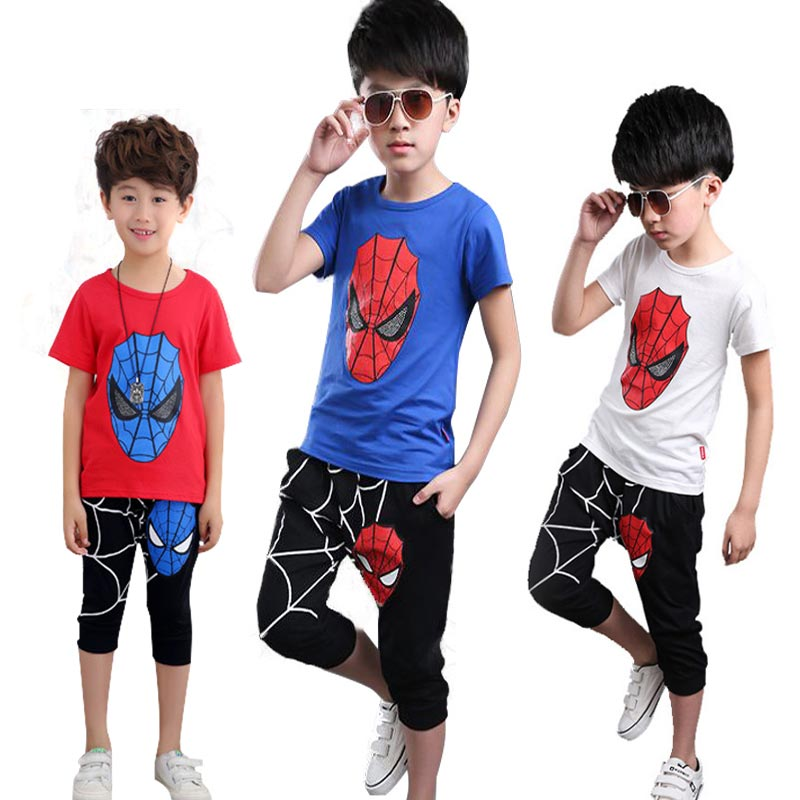 Spiderman Sports Suit for Boys Clothes Sets Summer Cartoon Teenage Boy Clothing Set Kids Tracksuit Children Shorts 6 10 12 Years