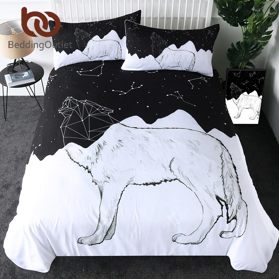 BeddingOutlet Wolf Duvet Cover Set Constellation Lines Bedding Set Black White Geometric Comforter Cover Animal Bedspreads 3pcs