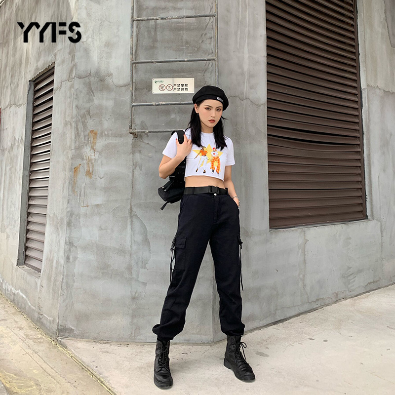 YYFS Streetwear Cargo   Pants   Women Casual Joggers Black High Waist Loose Female Trousers Korean Style Ladies   Pants     Capri   feminina