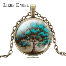LIEBE ENGEL Fashion Life Tree Glass Cabochon Statement Necklace & Pendant Jewelry Vintage Bronze Chain Choker Necklace For Women