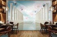 טפט 3d mural עלתה רומית עמודות תמונת טפט קיר הגדרת טלוויזיה טפט מותאם אישית של ספת סלון