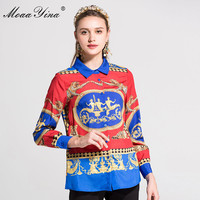 MoaaYina 2018 Plus Size 3XL Designern Shirt Summer Women Long Sleeve Turn Down Collar Leopard Print
